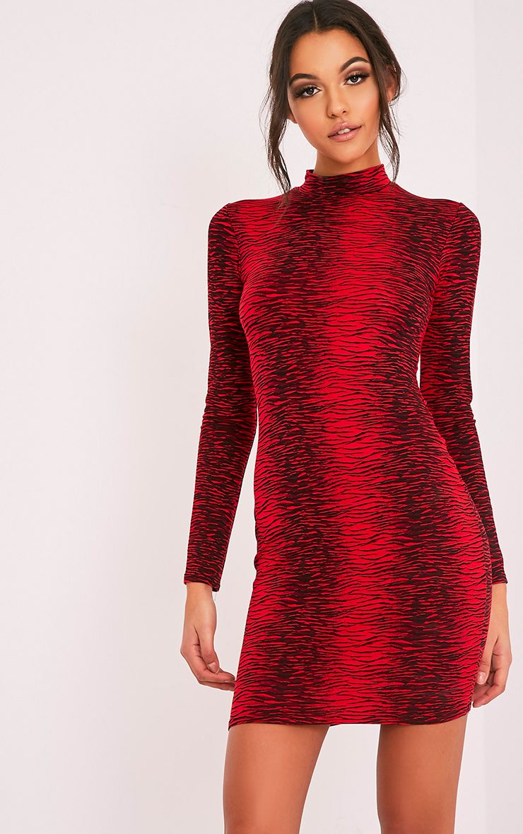 Piyah Red Zebra Print High Neck Bodycon Dress