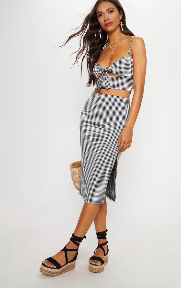 PRETTYLITTLETHING Mustard Gingham Split Detail Midi Skirt Free Shipping Visa Payment Clearance 2018 Unisex Buy Online Authentic Discount 2018 Unisex 6X7zF2C