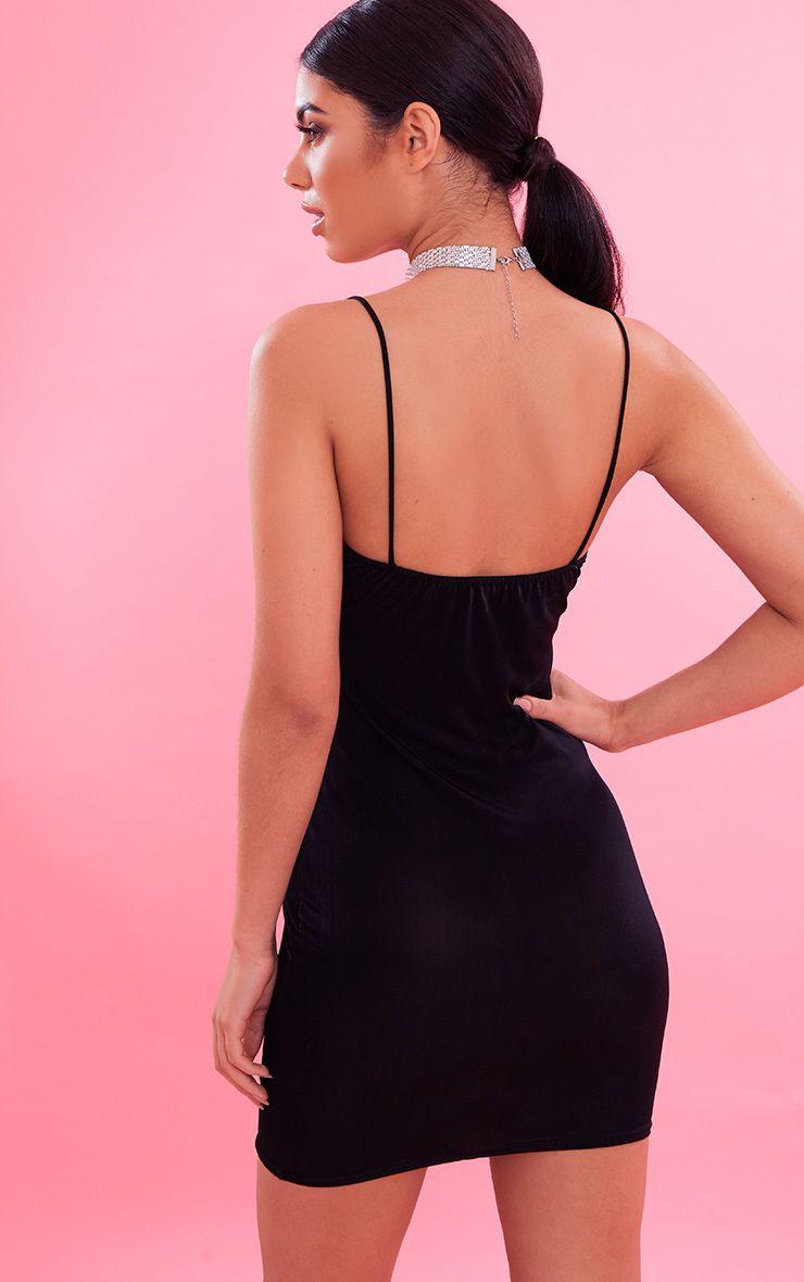 Basic Black Slinky Spaghetti Strap Bodycon Dress