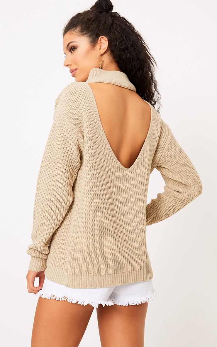 Shawnette Stone Cut Out Back Knitted Jumper