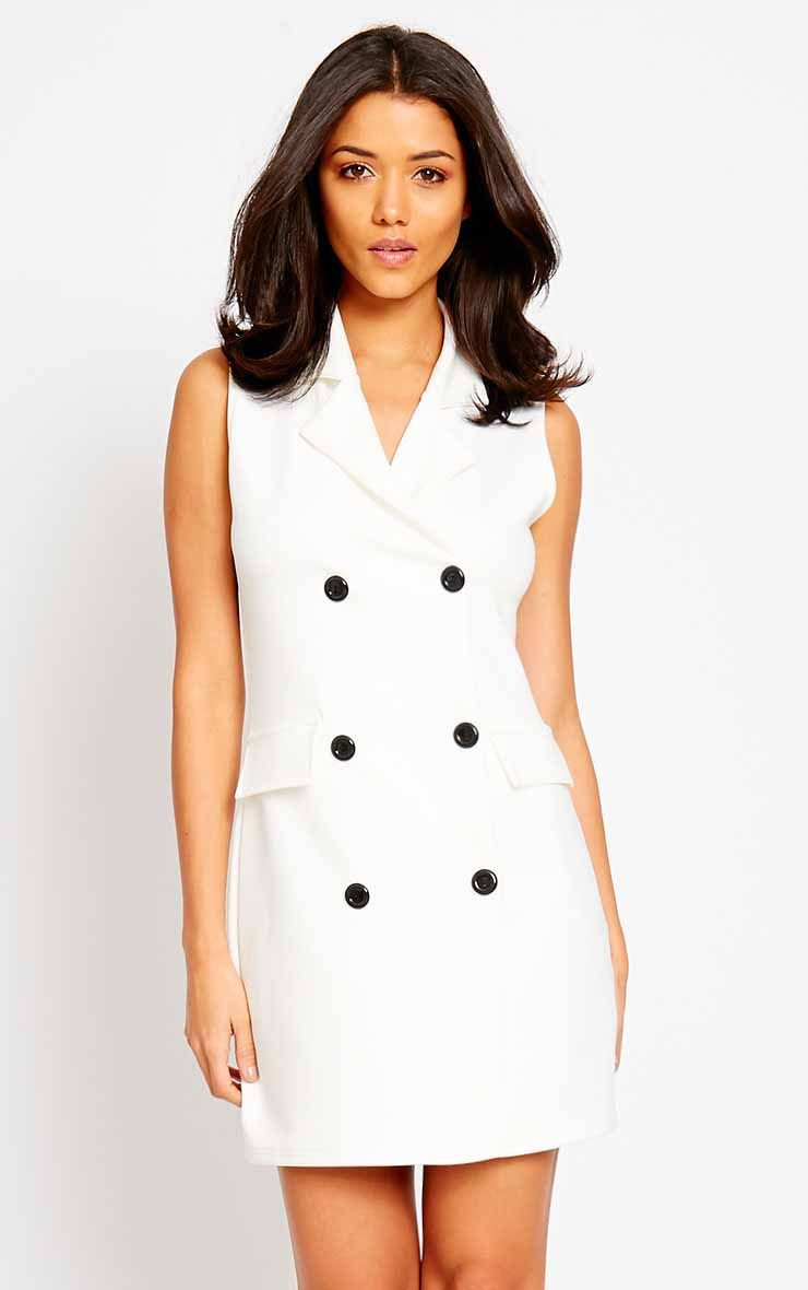 Thea Cream Blazer Dress 1