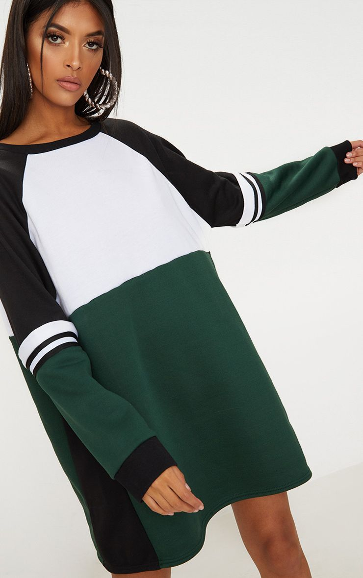 Green Colour Block Sweater Dress