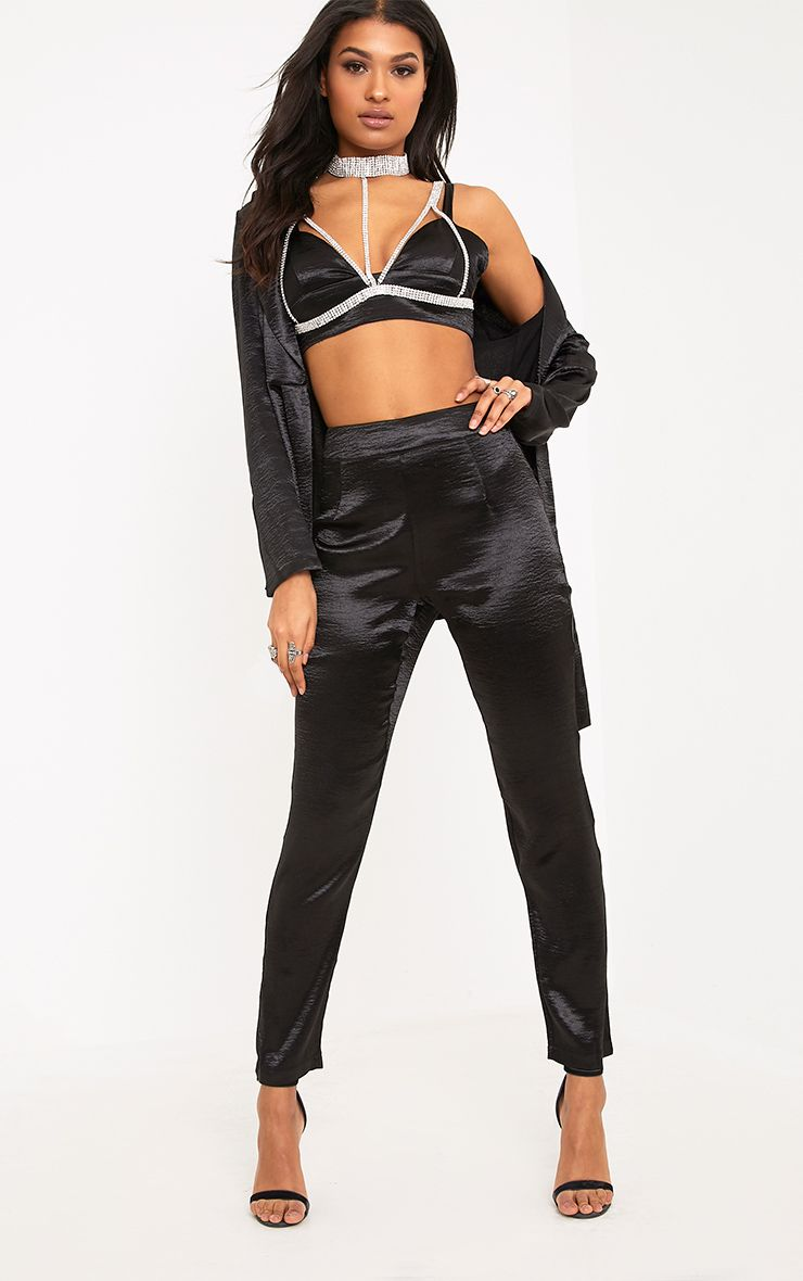 Camilla Black Hammered Satin Trousers
