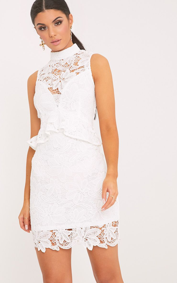 Caggie White Lace High Neck Frill Detail Bodycon Dress
