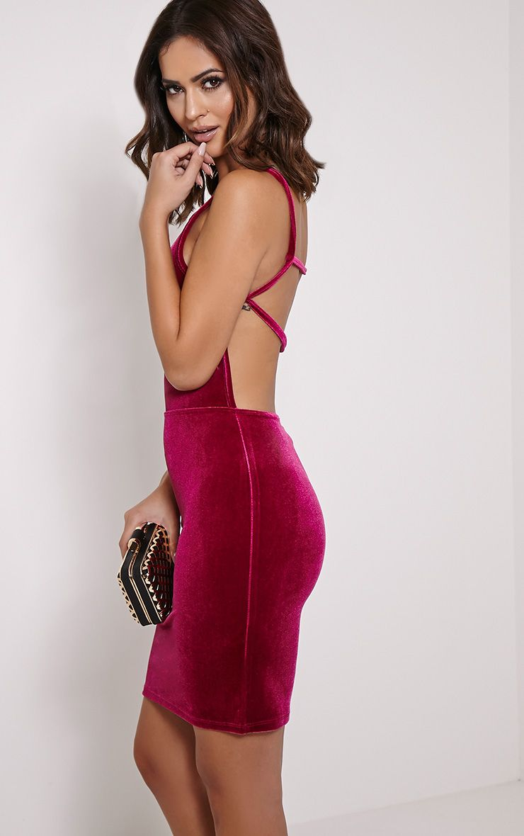 Zindy Cerise Velvet Backless Dress 1