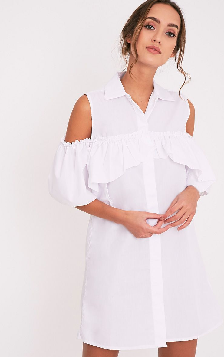 Ashlee White Cold Shoulder Frill Detail Shirt Dress
