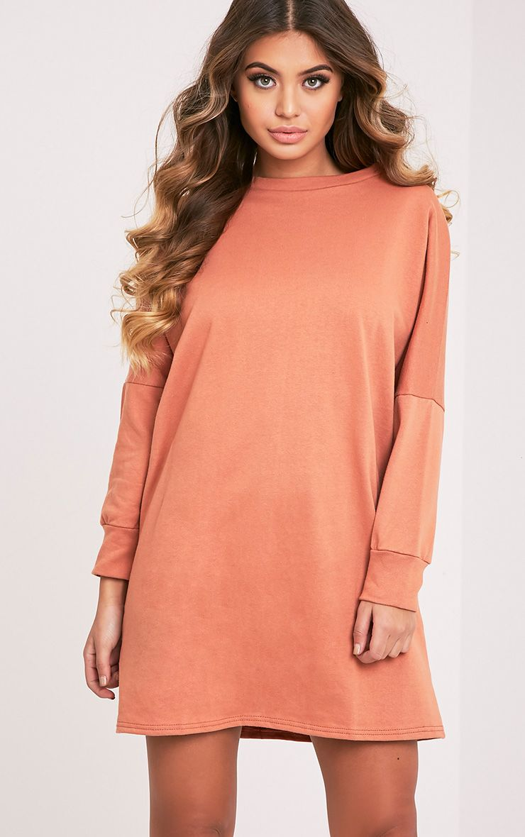 Laine Deep Peach Oversized Sweater Dress