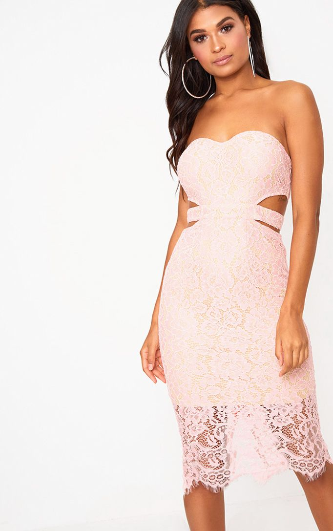 Dusty Pink Lace Bandeau Midi Dress