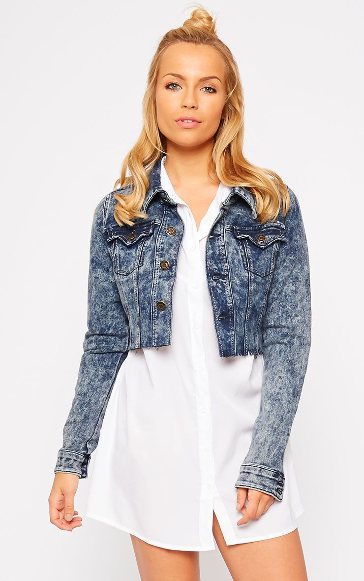 Abey Dark Acid Wash Cropped Frayed Denim Jacket 1