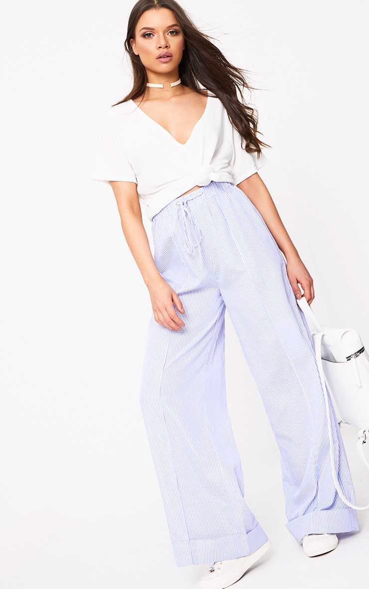 Cayley Light Blue Pinstripe Wide Leg Trousers