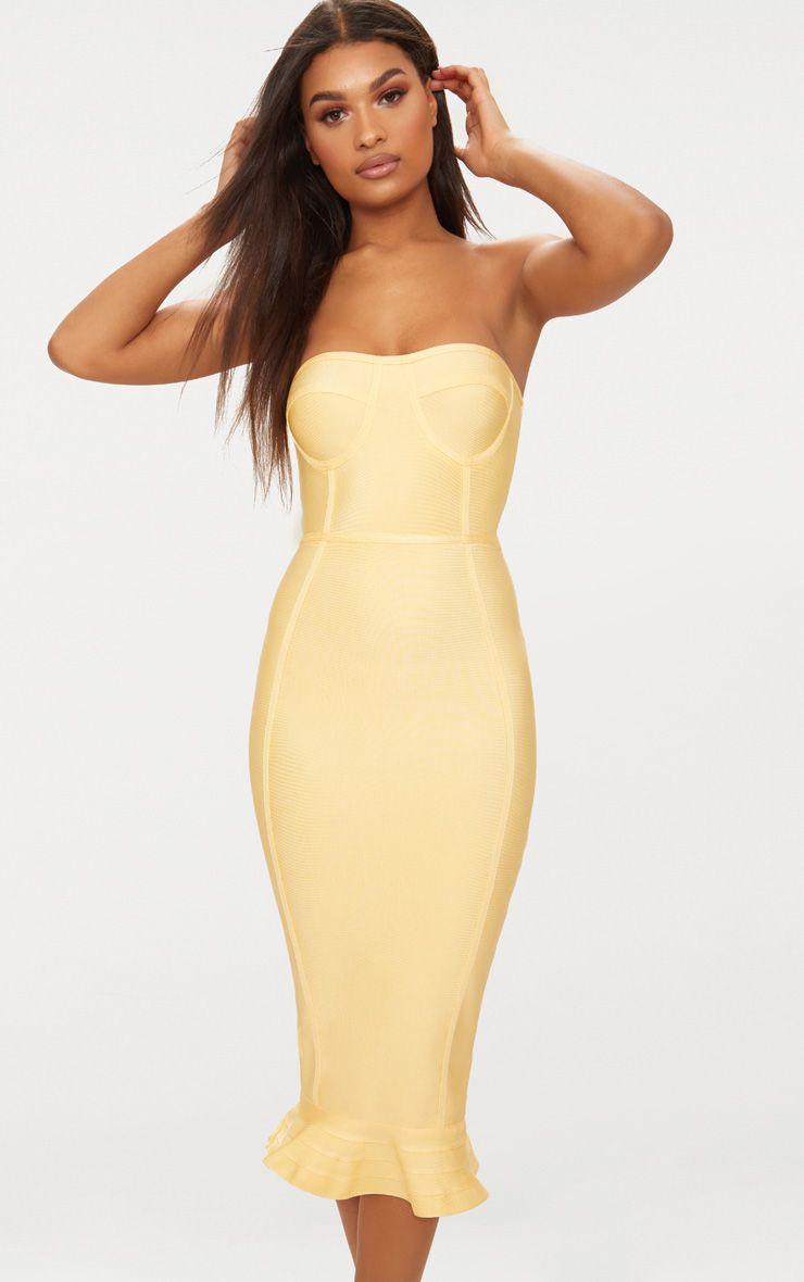 Lemon Bandage Frill Hem Midi Dress