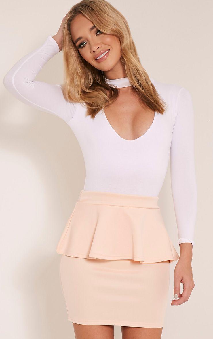 Mariela Nude Peplum Scuba Mini Skirt Pink