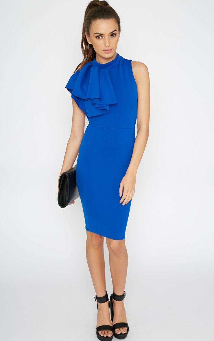 Elana Cobalt Frill Bodycon Dress 1