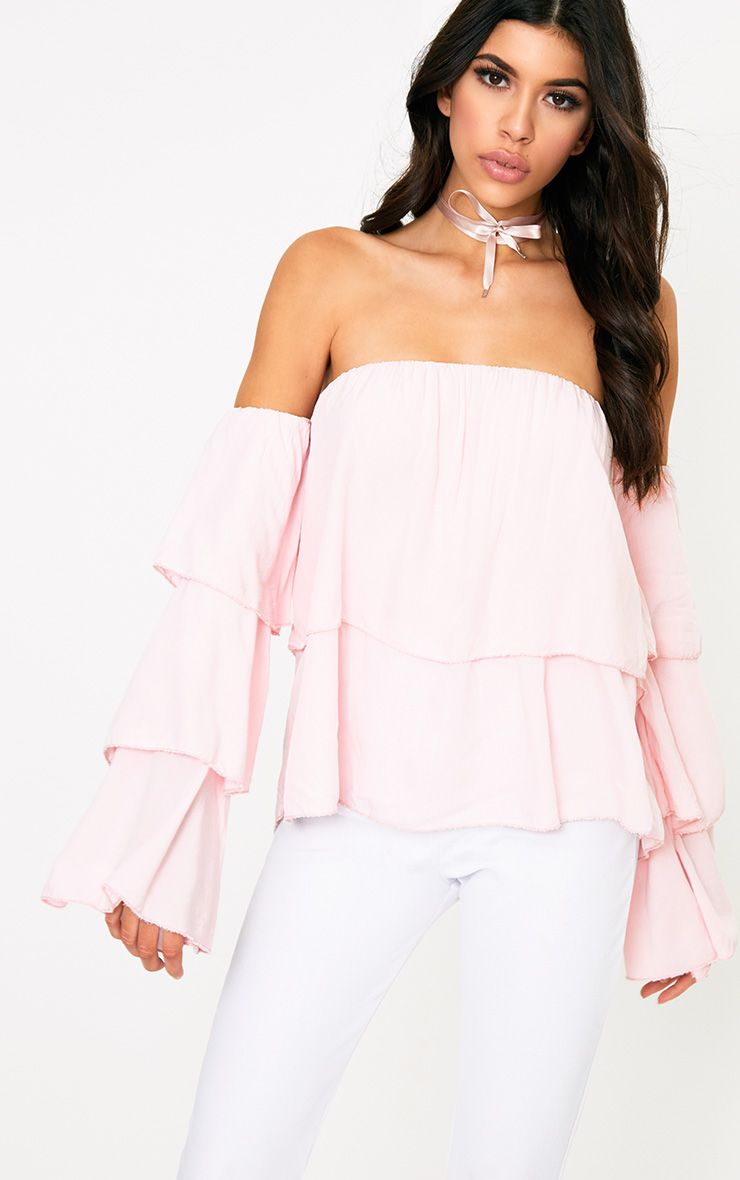 Pink Bardot Frill Sleeve Soft Shirt