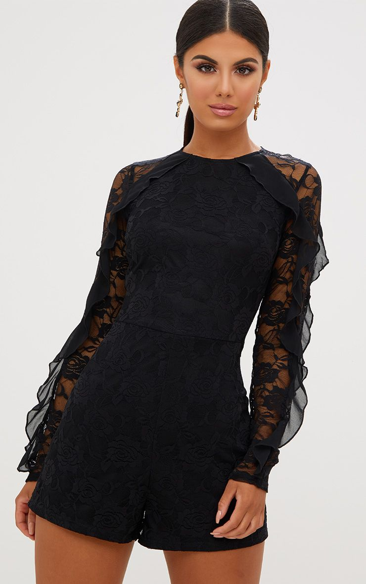 Black Lace Chiffon Frill Detail Playsuit