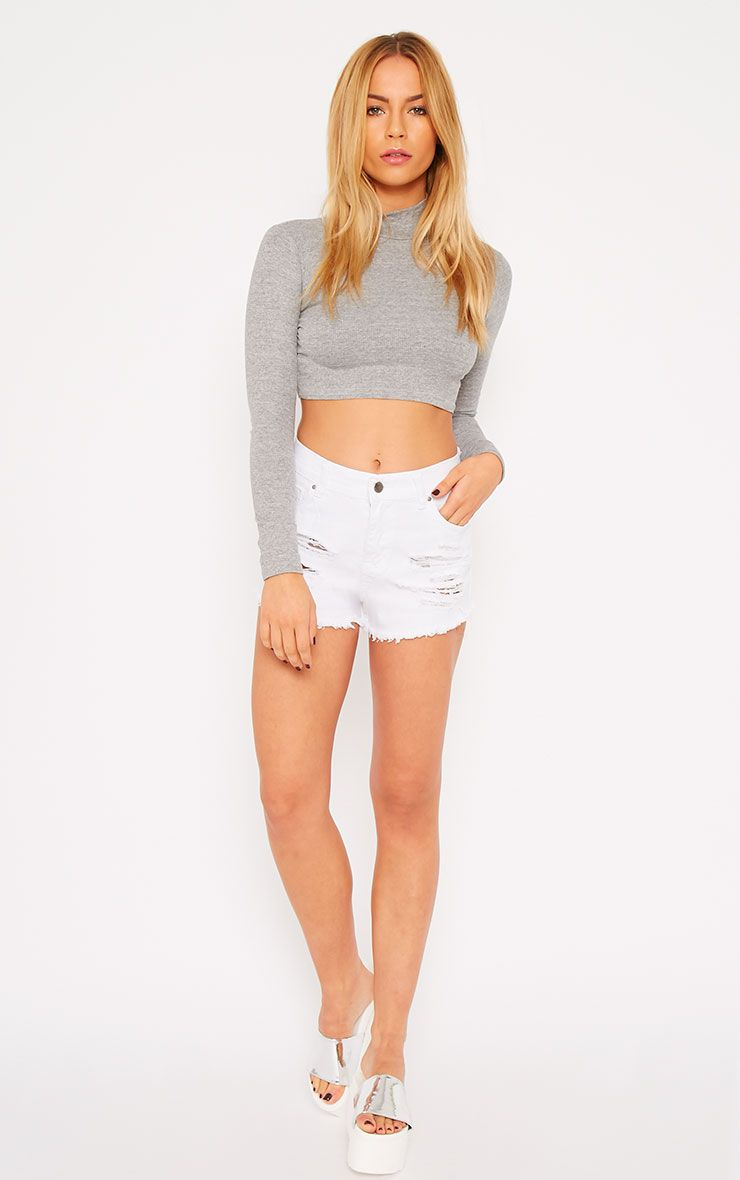 Sidney White Ripped Denim Hotpants 1