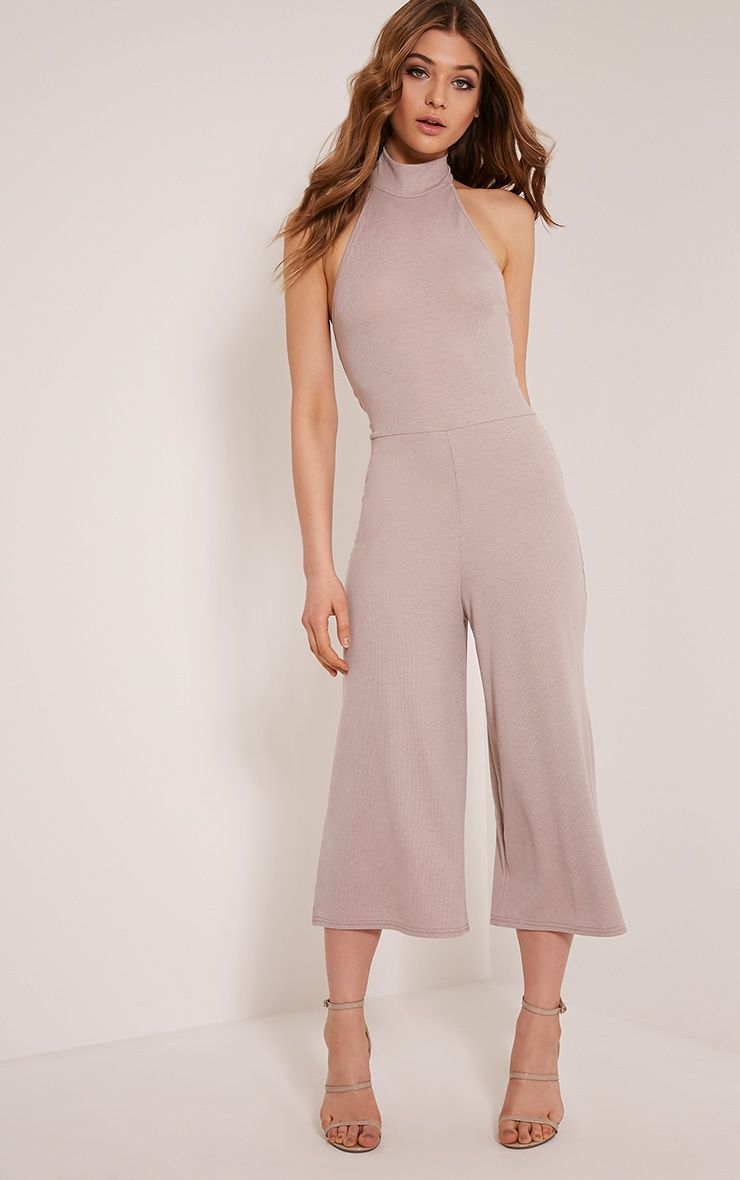 Marcie Taupe High Neck Low Back Culotte Jumpsuit 1