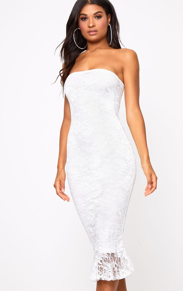 White Lace Bandeau Frill Hem Midi Dress