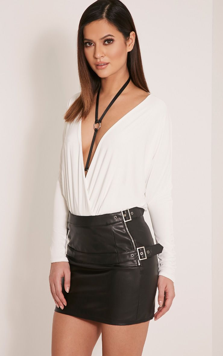 Serin Black Double Belted Faux Leather Mini Skirt 1