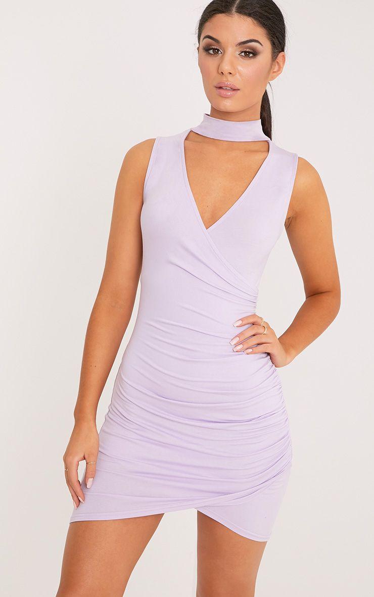 Amaris Lilac Choker Detail Ruched Bodycon Dress
