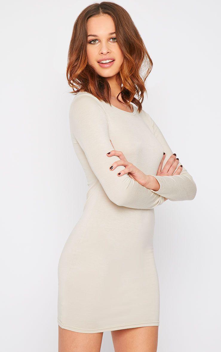 Basic Stone Long Sleeve Jersey Mini Dress 1