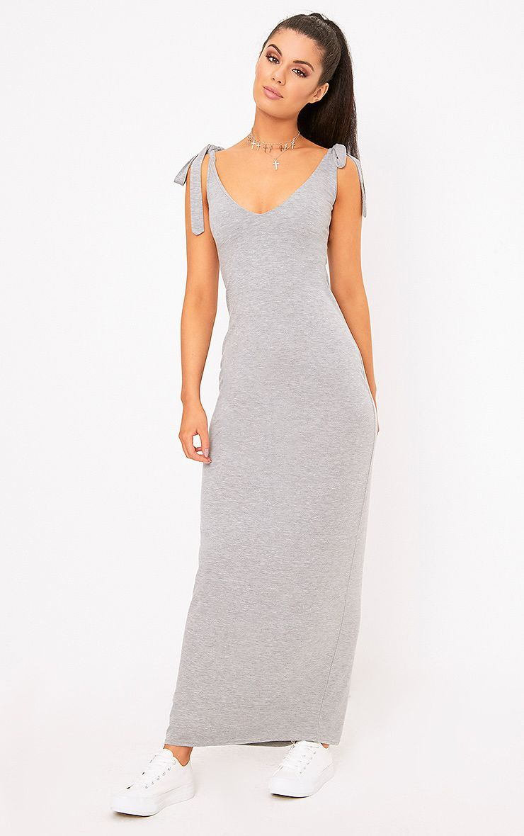 Grey Marl Jersey Tie Sleeve Maxi Dress