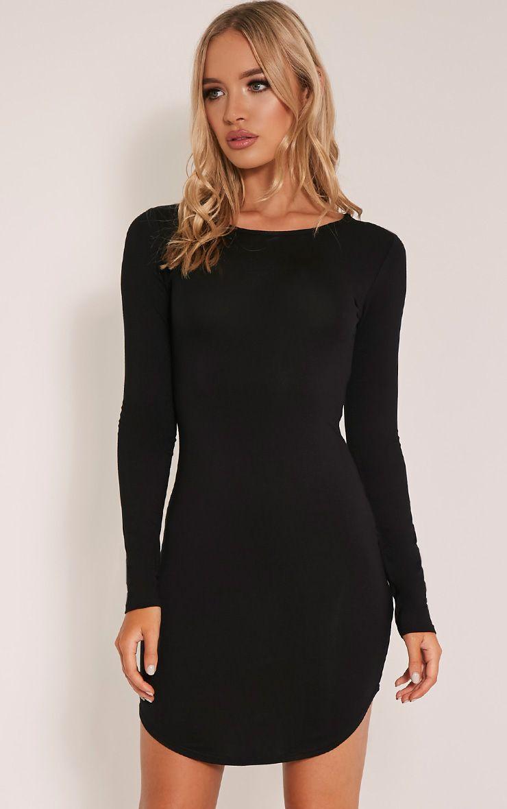 Alby Black Scoop Neck Curved Hem Dress 1