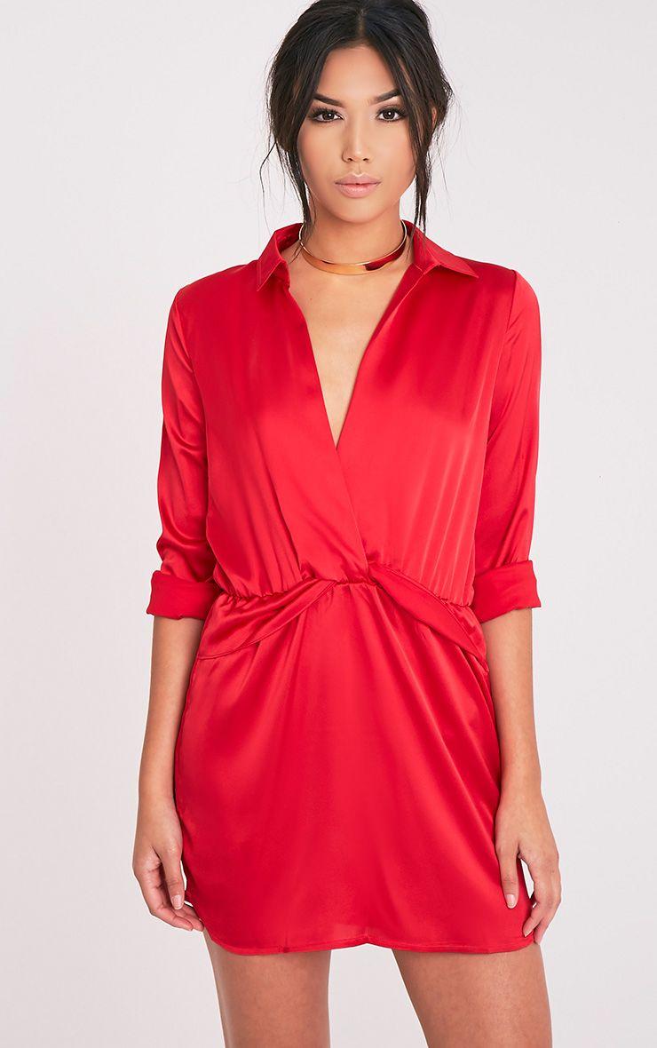 Katalea Red Twist Front Silky Shirt Dress