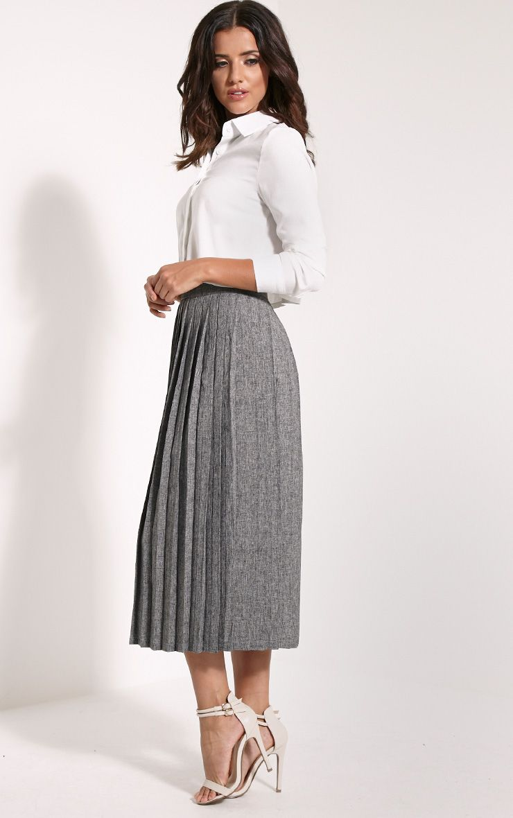 Leannah Grey Pleated Midi Skirt 1