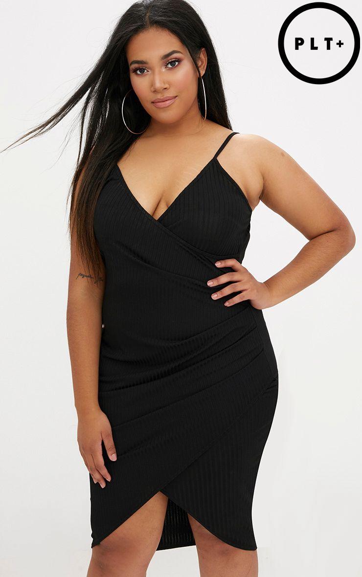 Plus Black Ribbed Cami Midi Dress
