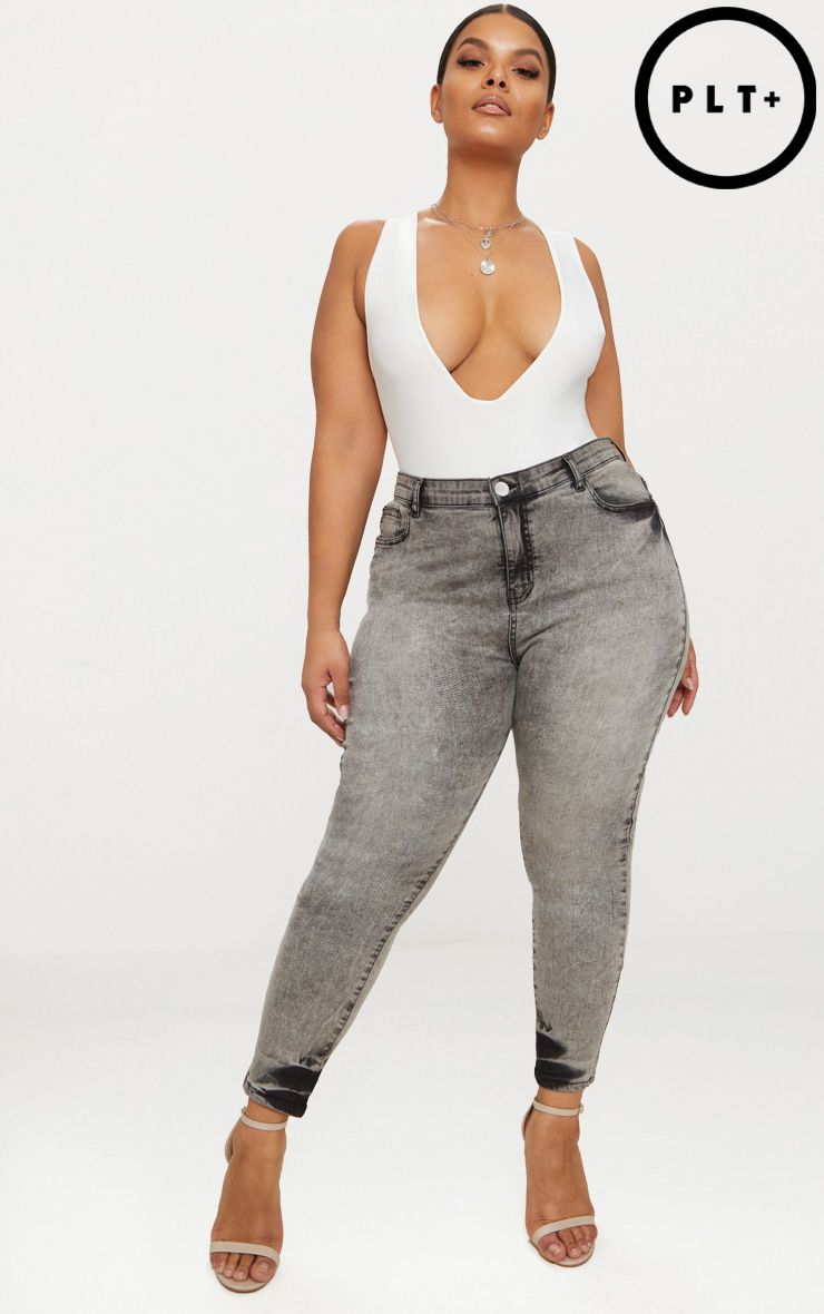 PLT Plus- Jean skinny gris