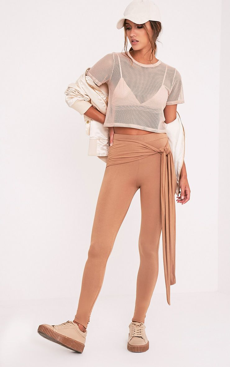 Basic Camel Tie Front Leggings
