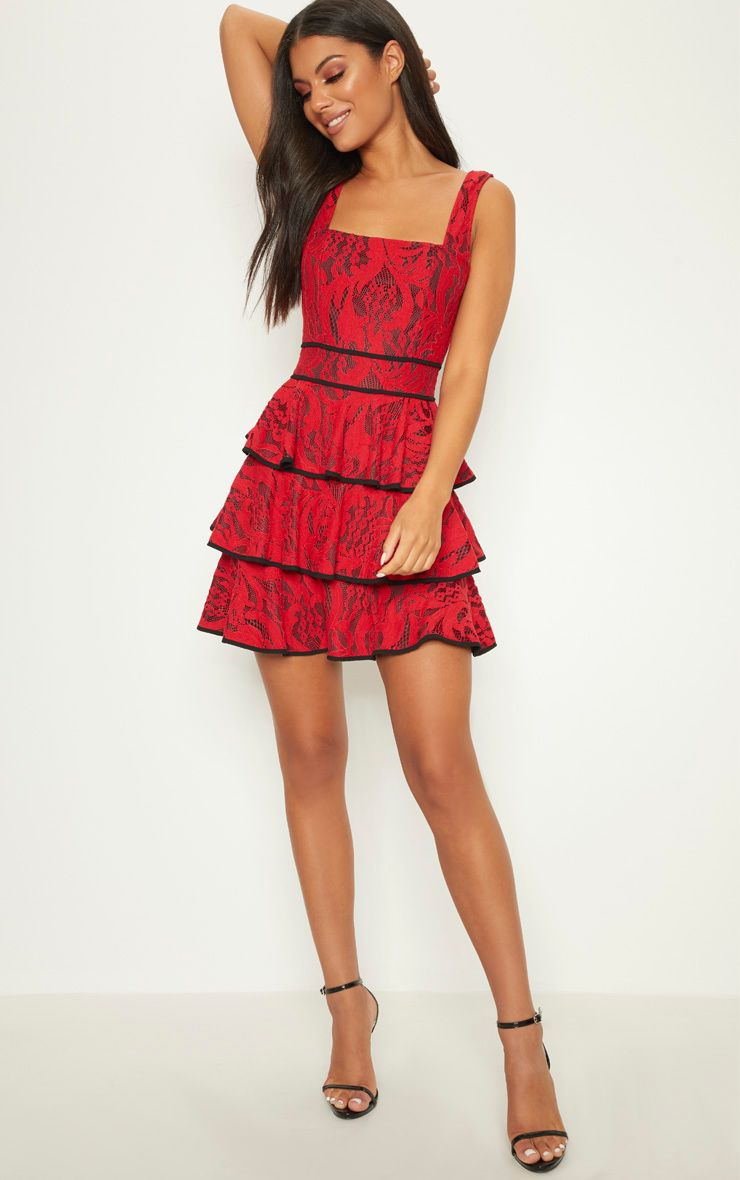Red Lace Square Neck Contrast Trim Tiered Skater Dress