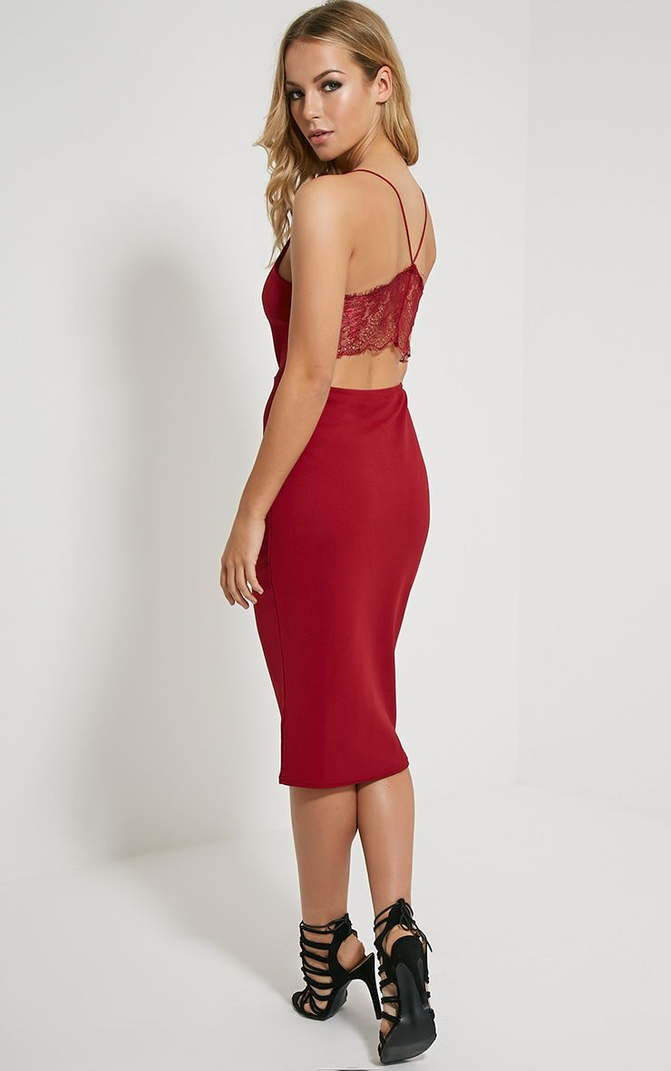 Tonia Oxblood Lace Back Detail Midi Dress 1