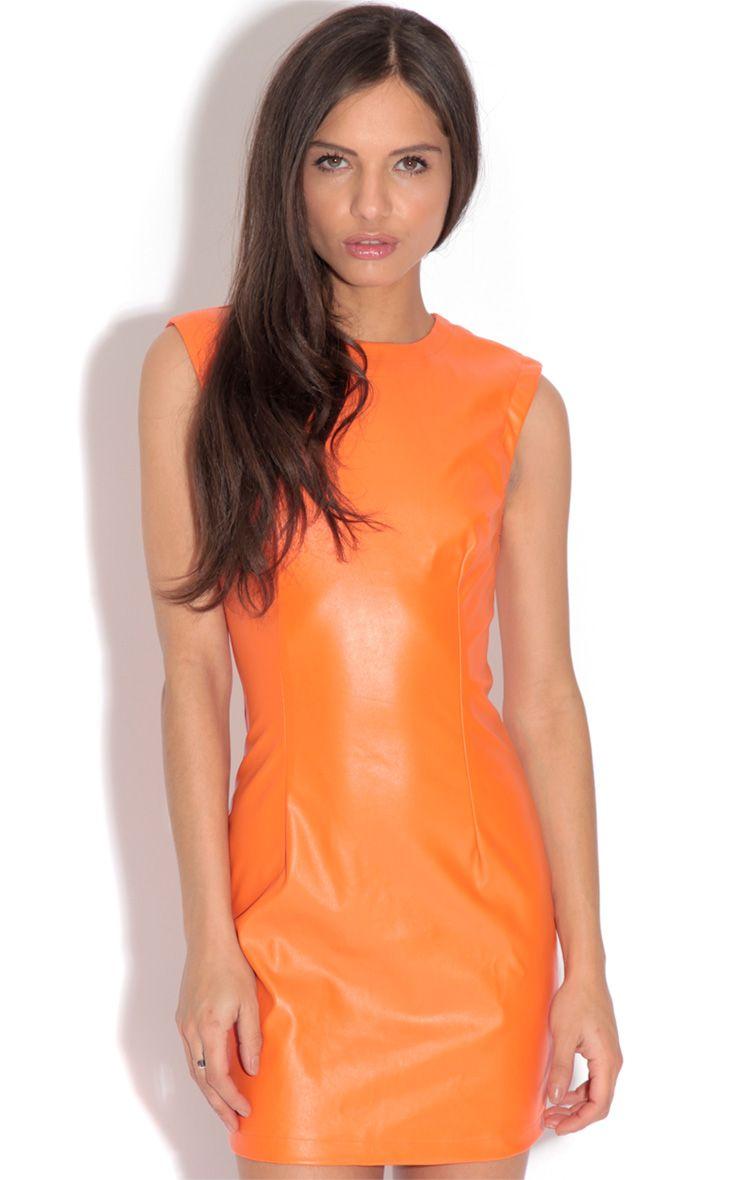 Nicole Orange Leather Bodycon Dress 1