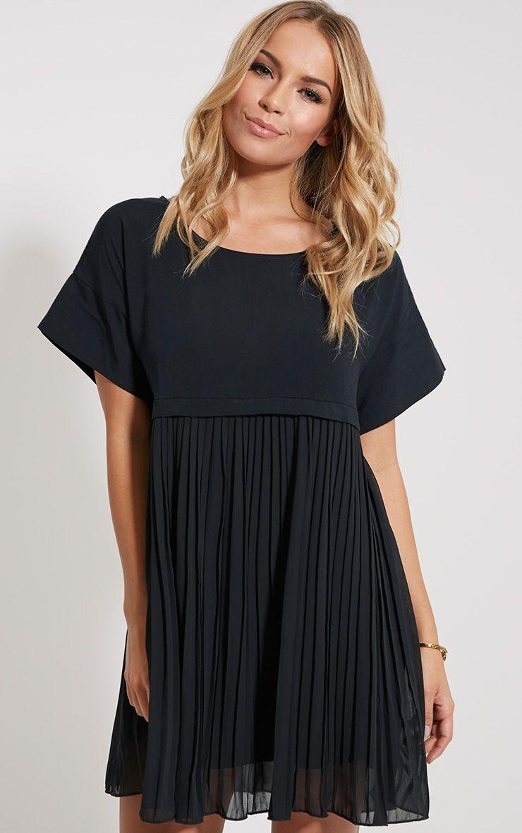 Caila Black Pleat Smock Dress 1