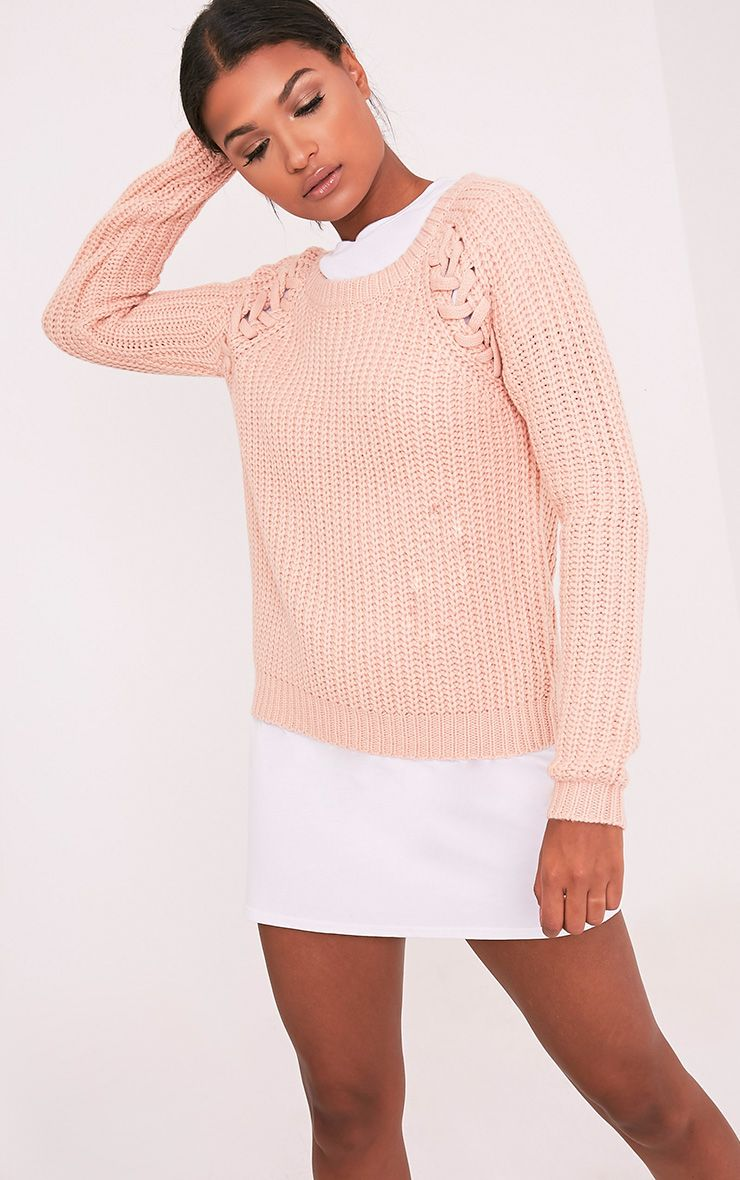 lolanne Blush Lace Up Detail Chunky Knit Jumper 1