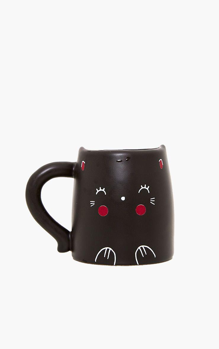Black Oh K! Blushing Cat Mug