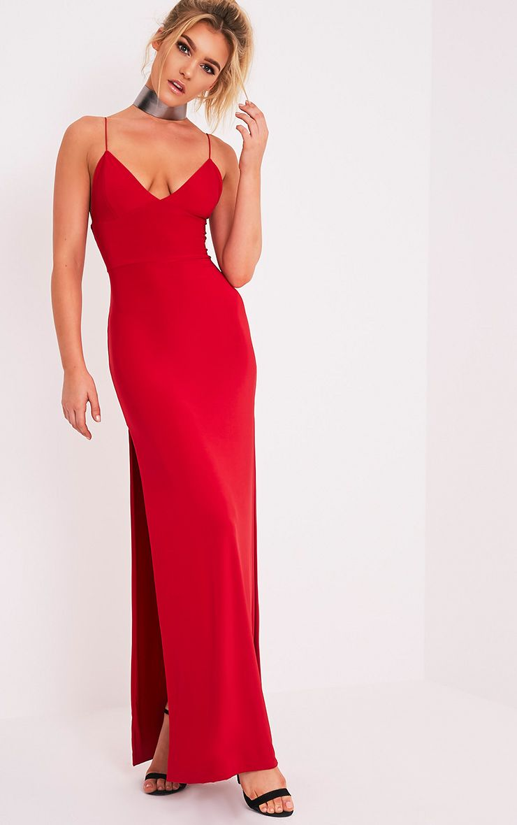 Irinah Red Slinky Strappy Plunge Maxi Dress 1
