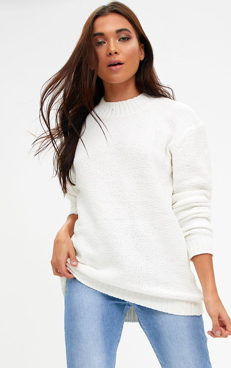Cream Chenille Oversized Jumper 1