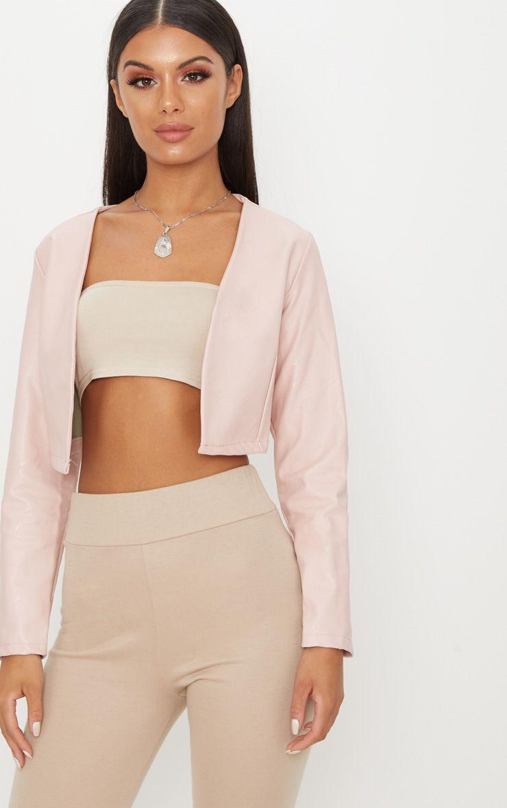 Pale Pink PU Cropped Blazer