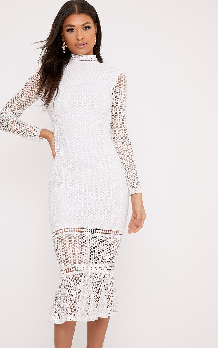Annie White Lace High Neck Frill Midaxi Dress