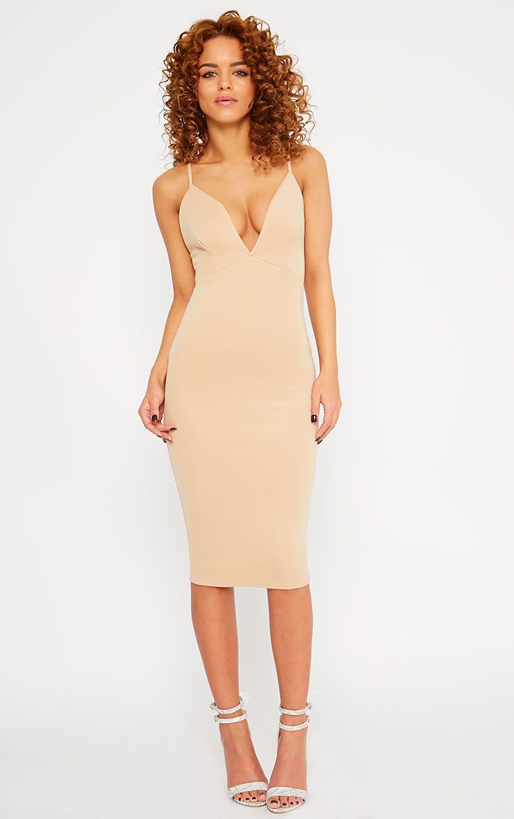 Nada Camel Plunge Cross Back Midi Dress 1