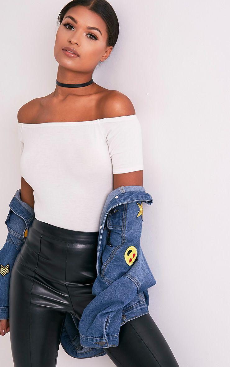 Cream Bardot Short Sleeve Thong Bodysuit
