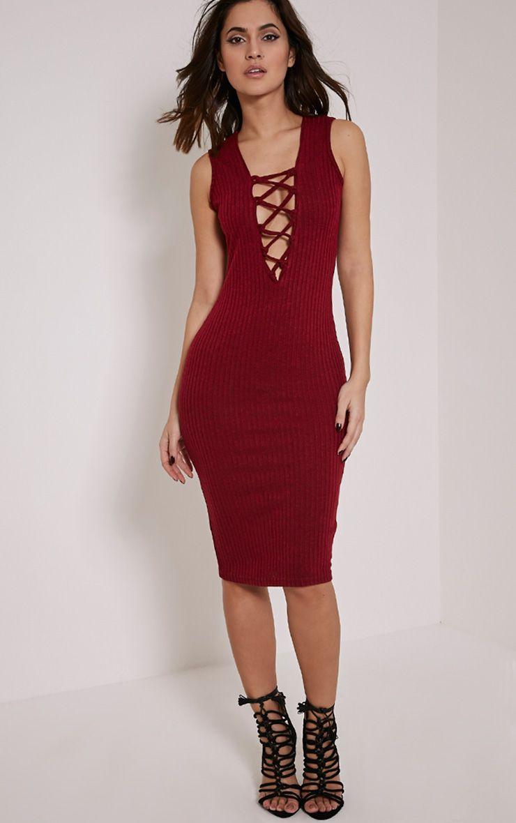 Trish Burgundy Ribbed Lace Up Midi Dress 1