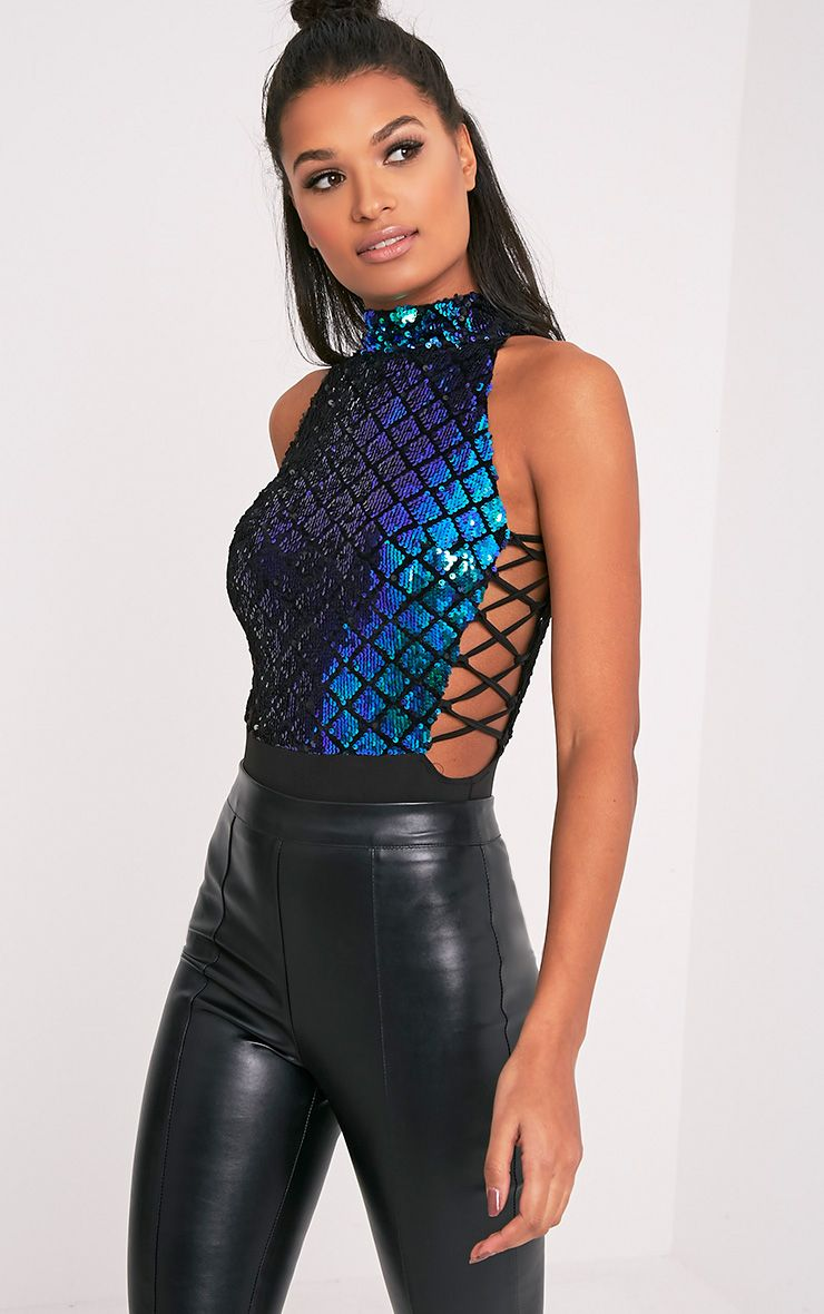 Lindie Blue Sequin Mermaid Lace Up Side Thong Bodysuit