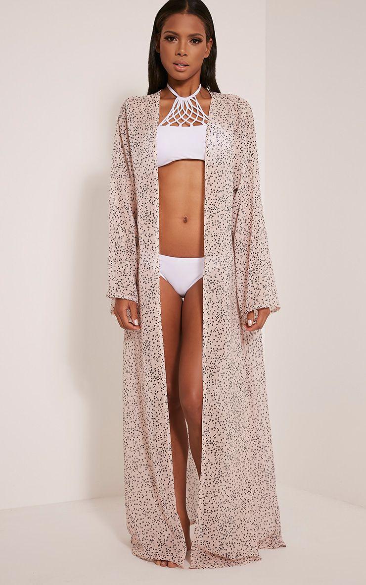 Xalia Nude Star Print Sheer Maxi Kimono