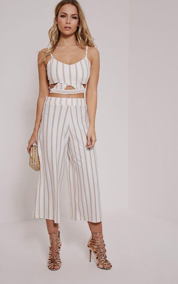 Sheri White Pinstripe Culottes 1