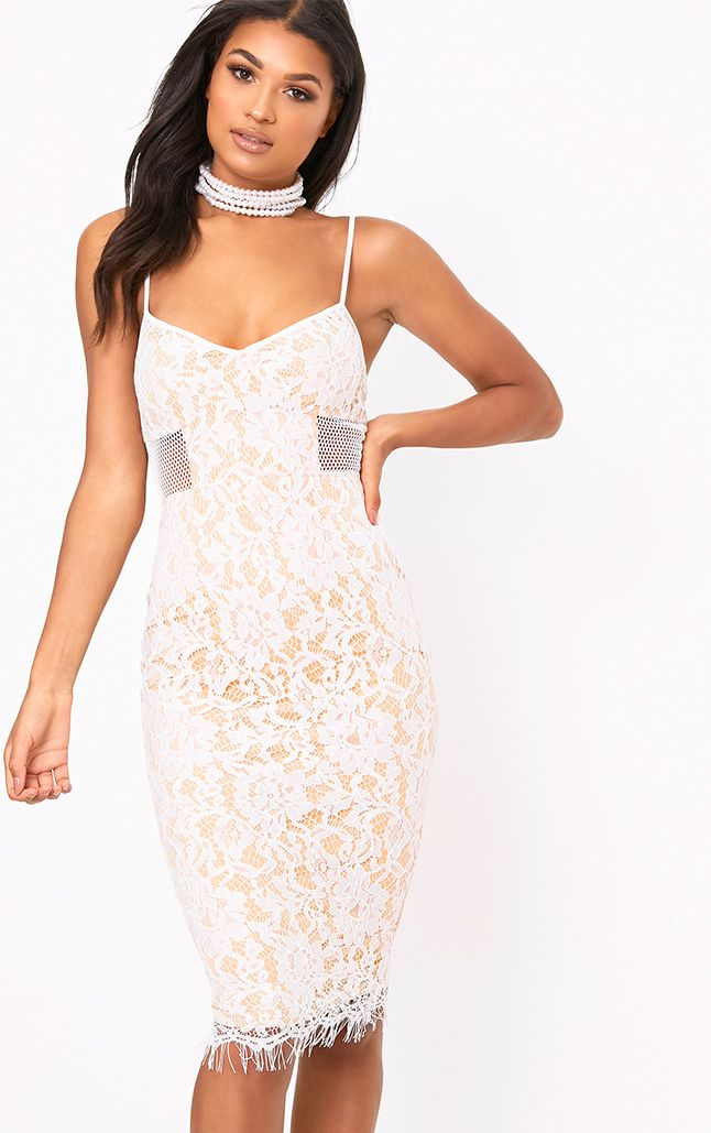 Beatrice White Lace Fishnet Panel Midi Dress