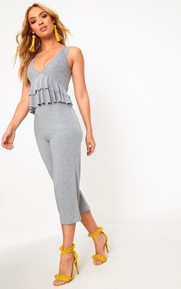 Grey Marl Frill Front Culotte Jumpsuit